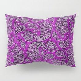Silver embossed Paisley pattern on purple glass Pillow Sham
