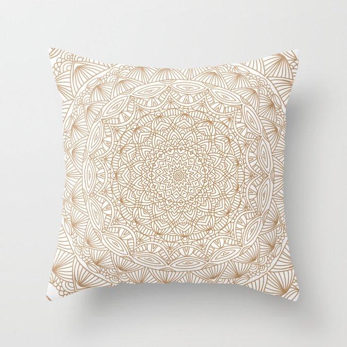 Brown Tan Intricate Detailed Hand Drawn Mandala Ethnic Pattern Design Throw Pillow