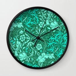 Art Nouveau Seaweed Floral, Turquoise and Aqua Wall Clock