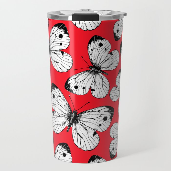 Cabbage butterfly pattern on red Travel Mug