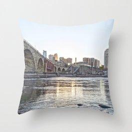 Minneapolis Minnesota Skyline Sunset and River-Bright Throw Pillow