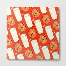 Milk & Cookies Pattern - Red Metal Print