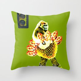 monkey and the traffic light Throw Pillow
