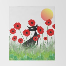Whimsical Black Cat and Red Poppies Throw Blanket