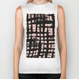 Check - abstract painted pattern black checker contrasting peach Biker Tank