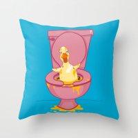 toilet Throw Pillows featuring Toilet Duckling by Chris Piascik