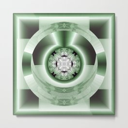 Art Deco Hub Cap in Green Metal Print