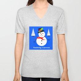 Nadolig Llawen, Merry  Christmas snowman Wales Unisex V-Neck