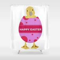 easter Shower Curtains featuring Happy Easter  by Sammycrafts