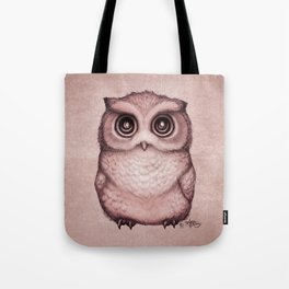 """""""The Little Owl"""" by Amber Marine ~ (Peach Fuzz Version) Graphite&Ink Illustration, (Copyright 2016) Tote Bag"""