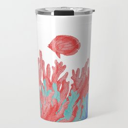 Modern nautical coral teal floral reef colorful fish Travel Mug