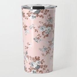 Blush pink rose gold white boho floral pattern Travel Mug