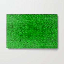 Acid Neon Lime Green Brick Wall Metal Print