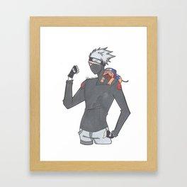 Kakashi and Pakkun Framed Art Print
