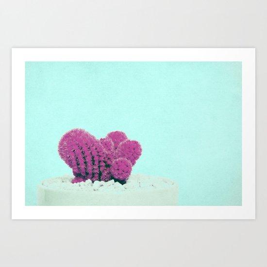 Vintage Pink Cactus on Blue Art Print