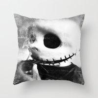 jack skellington Throw Pillows featuring smoking jack skellington by Joedunnz