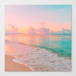 Beautiful: Aqua, Turquoise, Pink, Sunset Relaxing, Peaceful, Coastal Seashore Canvas Print