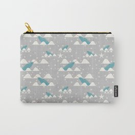 narwhal in ocean grey Carry-All Pouch