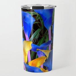 BLACK MODERN ABSTRACT BLUE & GOLD CALLA LILIES Travel Mug