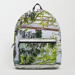 RAINY SPRING DAY AT THE DOCK IN THE WOODS Backpack