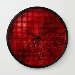Red Faux Foil Grunge Digital Squares Geometric Pattern Wall Clock