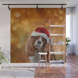 Drawing Dog breed Cavalier King Charles Spaniel  in red hat of Santa Claus Wall Mural