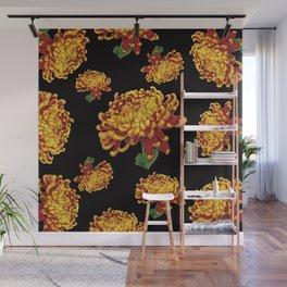 Floral Theme- Chrysanthemum Watercolor Painting Wall Mural