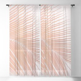 Palm leaf - copper pink Sheer Curtain