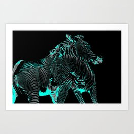 Turquoise Inverse Zebras Art Print