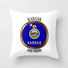 Kansas Proud Flag Button Throw Pillow