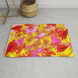 AWESOME RED AMARYLLIS & YELLOW COREOPSIS RED ABSTRACT GARDEN Rug