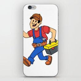 Happy running handyman cartoon illustration iPhone Skin