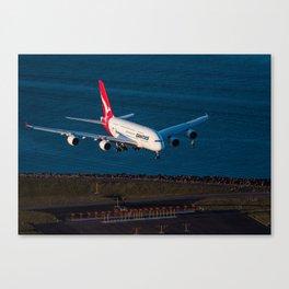Qantas A380 over Botany Bay Canvas Print