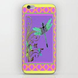 Ornate Blue Dragonflies Pink-Yellow-Purple Lattice Pattern iPhone Skin