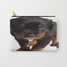 Cute Rottweiler Puppy Lapping Milk Vector Carry-All Pouch