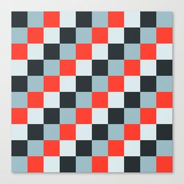 Stainless steel knife - Pixel patten in light gray , light blue and red Canvas Print