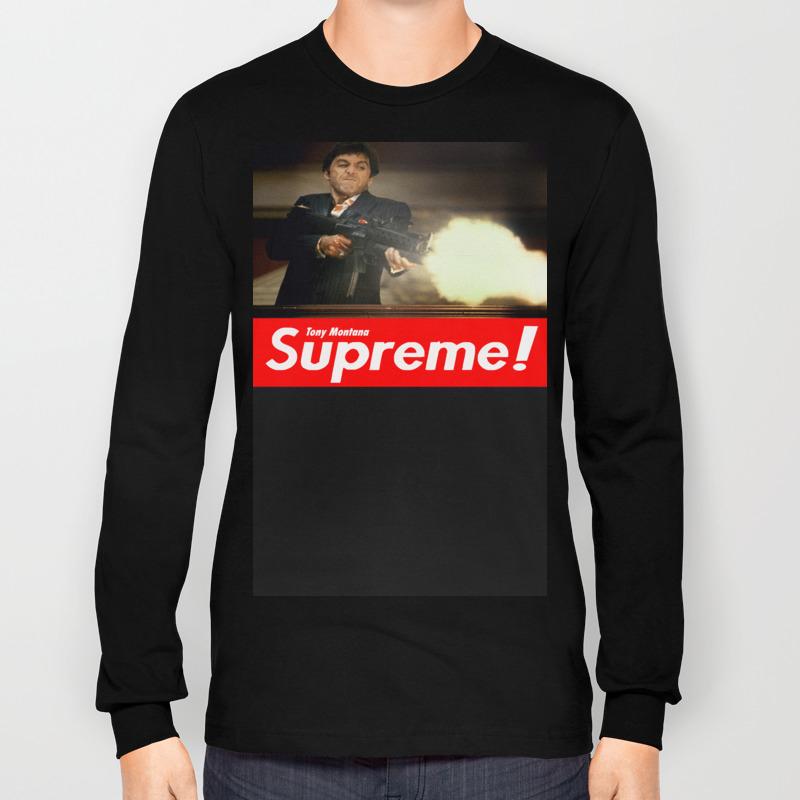 f93d97e8 Tony Montana Supreme Long Sleeve T-shirt by harrison_solo   Society6