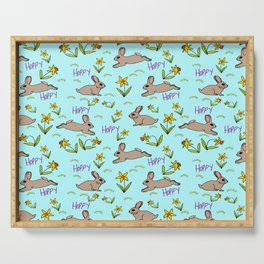 Hoppy Happy Sweet Spring Bunny Floral Design Serving Tray