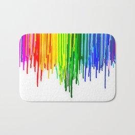 Rainbow Paint Drops on White Bath Mat