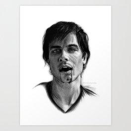 Damon Salvatore Drawing Art Print