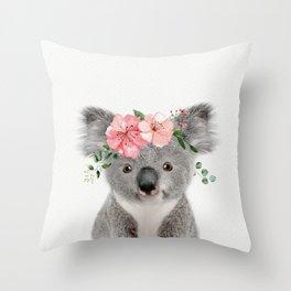 Baby Koala with Flower Crown Throw Pillow