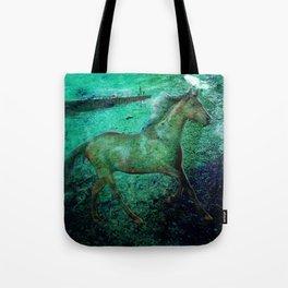 Green sea horse Tote Bag