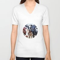 cows V-neck T-shirts featuring Funny cows by George Peters