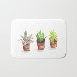 3 Potted Plants Bath Mat