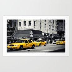 Yellow Cabs   B/W Art Print