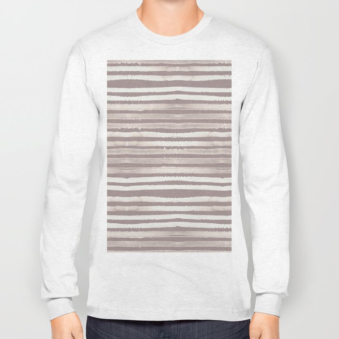 Simply Shibori Stripes Lunar Gray and Red Earth Long Sleeve T-shirt