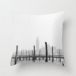 fog in lagoon of venice Throw Pillow
