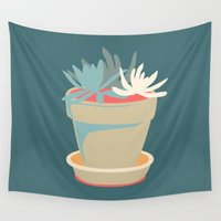 succulent Wall Tapestries featuring Succulent by Rabbits In The Sky