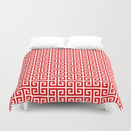 Red and White Greek Key Pattern Duvet Cover