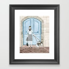 Lady With Two Dogs Framed Art Print